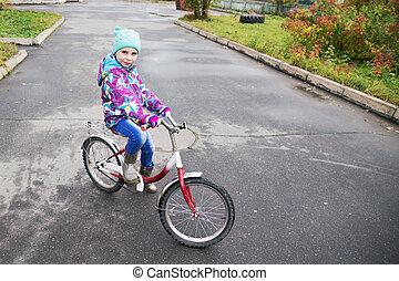 peu, parc bicyclette, automne, équitation, girl