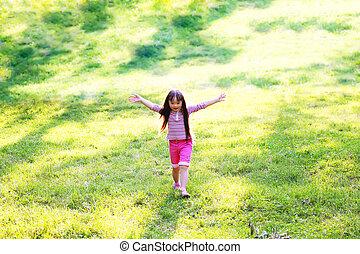 peu, parc, courant, girl, heureux