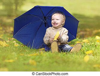 peu, parc, ensoleillé, automne, chaud, bébé, apprécier, jour, heureux