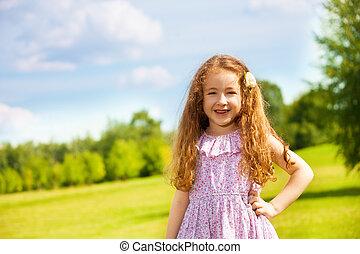 peu, parc, girl, heureux