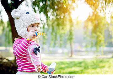 peu, parc, girl, promenades