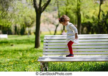peu, parc, jouer, girl