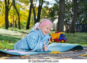 peu, parc, jouer, girl, rire
