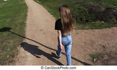 peu, parc, marche, matin, sentier, girl