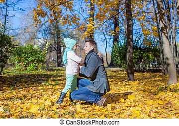 peu, parc, père, automne, girl, heureux