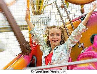 peu, park., amusement, girl, avoir, amusement, heureux