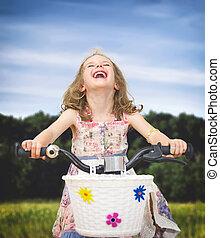 peu, park., vélo, girl, heureux
