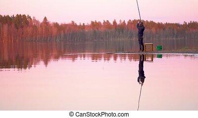 peu, peche, garçon, lac, coucher soleil