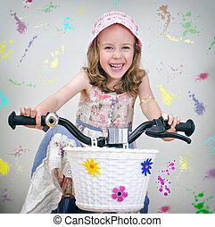 peu, peint, bicycle., arrière-plan., girl, mur, heureux