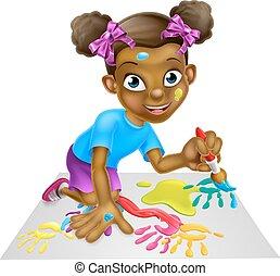 peu, peinture, dessin animé, girl