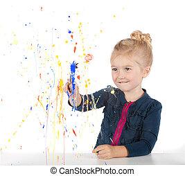 peu, peinture, fenêtre, girl