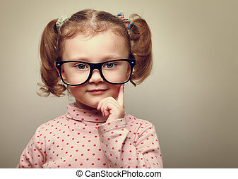 peu, pensée, vendange, glasses., regarder, portrait, girl, heureux, gosse