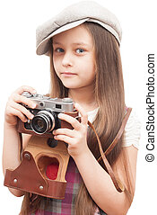 peu, photographe, isolé, fond, blanc, girl