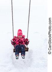 peu, pile., neige, girl, jouer