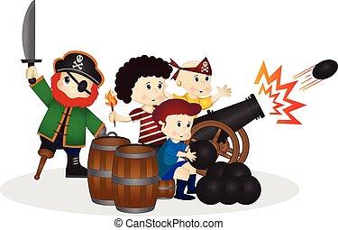 peu, pirates, boulet canon
