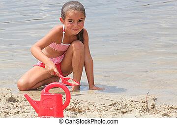 peu, plage, girl, creuser
