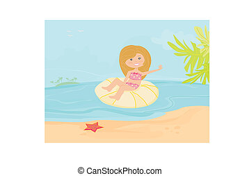 peu, plage, girl, heureux