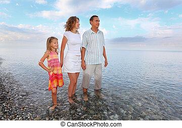 peu, plage, girl, soir, avoir, mains jointes, heureux, loin, mer, knee-deep, famille, debout, regarder