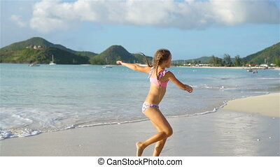 peu, plage., roues, actif, confection, girl, blanc