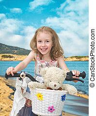 peu, plage., vélo, girl, heureux