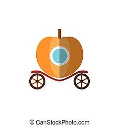 peu, plat, vecteur, citrouille, princesse, voiture, balle, blanc, fée, cendrillon, fantasme, icône, queue, illustration, isolé, entraîneur, équitation, filles, arrière-plan., icon.