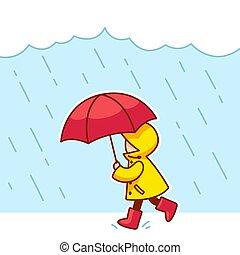 peu, pluie, enfant