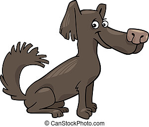 peu, poilu, chien, illustration, dessin animé