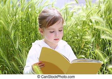 peu, pointes, jardin, livre, vert, blonds, lecture fille