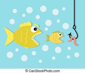 peu poisson, appât, grand poisson, ver, crochet, manger