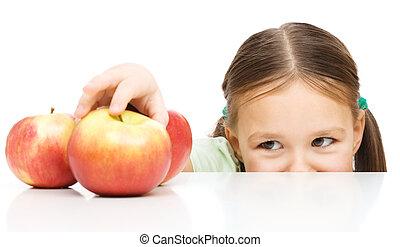 peu, pomme, girl, atteindre
