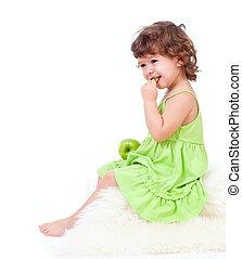 peu, pomme mangeant, vert, girl, adorable