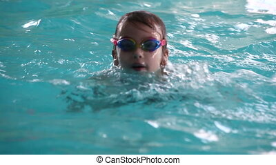 peu, pool., girl, natation