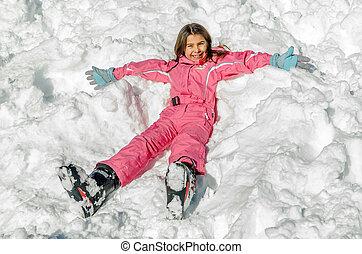 peu, pose, neige, girl