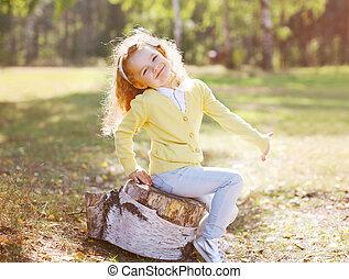 peu, positif, ensoleillé, avoir, automne, enfant, amusement, jour
