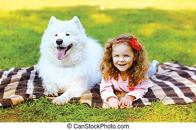 peu, positif, ensoleillé, chien, da, automne, amusement, girl, avoir, heureux