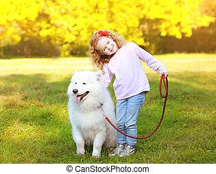 peu, positif, parc, chien, dehors, amusement, girl, avoir