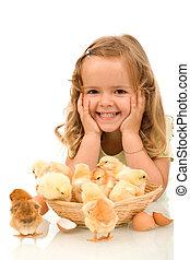 peu, poulets, girl, elle, heureux