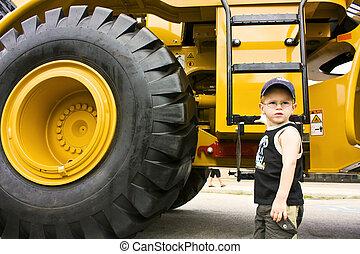 peu, prêt, construction, camion, garçon, travail