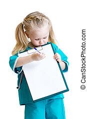 peu, prend, docteur, notes, isolé, déguisement, girl