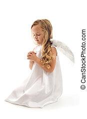 peu, prier, girl, ange