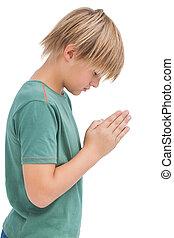 peu, prier, tête a courbé, garçon