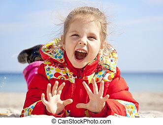 peu, printemps, time., girl, plage, heureux