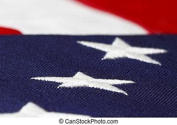 peu profond, américain, vue, drapeau, foyer