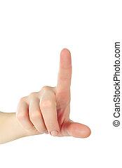 peu profond, coup, fond, haut, poussée bouton, -, isolé, main, somethimg, champ, profondeur, toucher, doigt, femme, fin, blanc, ou