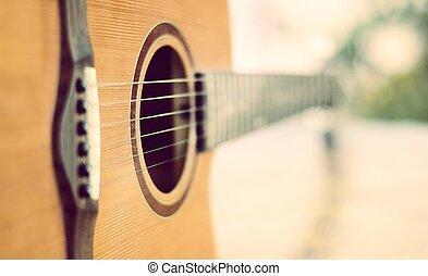 peu profond, détail, guitare, champ, profondeur, acoustique