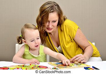 peu, puzzle, enfants, maman, girl, jouer