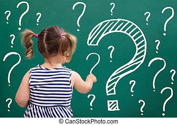 peu, question, écriture, tableau, marques, girl