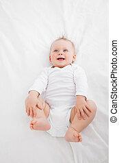 peu, quoique, couverture, bébé, rire, mensonge