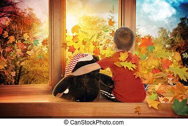 peu, regarder, feuilles, enfant, fenêtre, automne