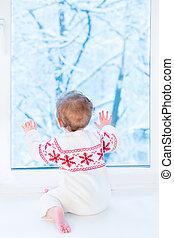 peu, regarder, séance, neige, arbres, fenêtre, t, bébé, couvert